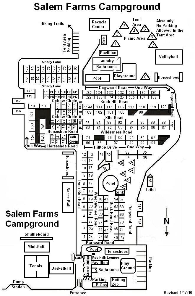 Salem Farms Campground Sites Map